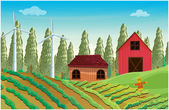 A farm with windmills and two wooden houses — Stock Vector