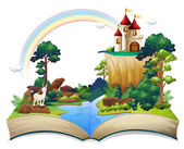 A book with a castle at the forest — Stock Vector