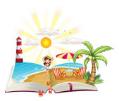 A book with an image of a beach — Stock Vector