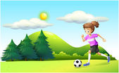 A girl playing soccer — Stock Vector