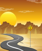 A curved road in the desert — Stock Vector
