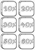 Doodle designs of price discounts — Stock Vector