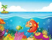 A sea with colorful coral reefs and fishes — Stock Vector