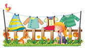 A girl playing with the bunny at the garden with clothes — Stock Vector