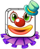 A square-shaped face of a clown with a violet collar — Stock Vector
