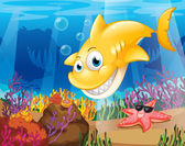 A yellow shark under the sea with starfish and corals — Stock Vector