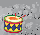 A drum with musical notes — Stock Vector