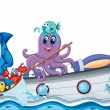Royalty-Free Stock Vector Image: Sea creatures riding on a boat with flag