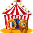 A red tent at the back of a bear and a flaming ring — Stock Vector #24930059