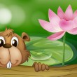 Stock Vector: Beaver beside pink flower