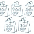 Paper bags with discounts — Stock Vector