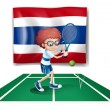 A boy playing tennis in front of the Thailand flag - 图库矢量图片