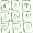 Notebooks with eco-friendly drawings — Vettoriali Stock