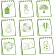 Stock Vector: Notebooks with eco-friendly drawings