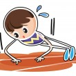 A boy performing push ups - Stock Vector