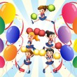 Stock Vector: Cheering squad in middle of balloons