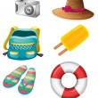 Different things ideal for summer outings - Stock Vector