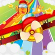 Royalty-Free Stock Imagen vectorial: A tiger riding in a plane