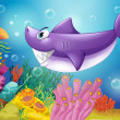 A smiling violet shark under the sea - Stock Vector
