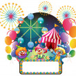 Royalty-Free Stock Vector Image: Three clowns in front of a carnival with an empty signage