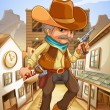 A man holding a gun with a hat outside the saloon - Stock Vector