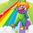A clown standing in the colorful road - Stock Vector