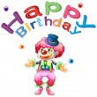 Royalty-Free Stock Vector Image: A happy birthday template with a clown