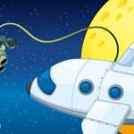 Постер, плакат: A robot near a planet with an orbit
