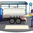 A policeman with a vehicle at the road - Stock Vector