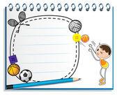 En bärbar dator med en ritning av en kille som spelar basket — Stockvektor