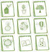 Notebooks with eco-friendly drawings — Stock Vector