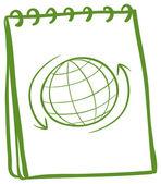 Een groene laptop met een tekening van een wereldbol op het voorblad — Stockvector