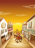 A boy riding in a horse outside the saloon — Stock Vector