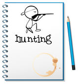 A notebook with a man hunting at the cover page — Stock Vector