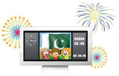 Three kids inside the scoreboard in front of the Pakistan flag — Stock Vector