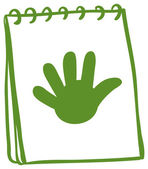 A green notebook with a drawing of a hand — Stock Vector