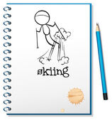 A notebook with a drawing of a boy skiing — Stock Vector
