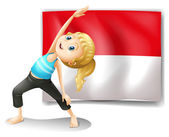 A girl doing her exercise in front of the Indonesian flag — Stock Vector