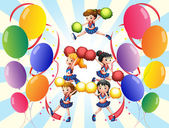A cheering squad in the middle of the balloons — Stock Vector