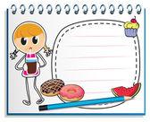 ジュースを持つ少女の図面とノートブック — ストックベクタ