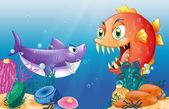 A prey and a predator under the sea — Stock Vector