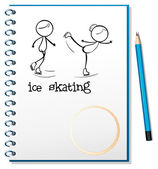 A notebook with an image of two ice skating — Stock Vector