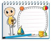 ноутбук с изображением мальчика холдинг игрушка — Cтоковый вектор