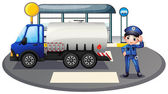 A policeman with a vehicle at the road — Stock Vector