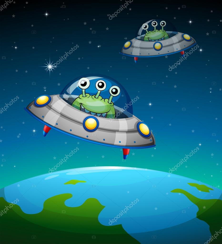 Spaceships with aliens — Stock Vector © interactimages ...