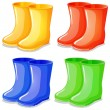 Four boots in different colors - Stock Vector