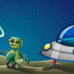 Постер, плакат: A robot beside a flying saucer