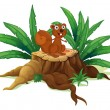 A squirrel on a stump with leaves — Vector de stock #25508121