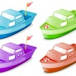 Four boats in different colors — Stock Vector