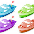 Four boats in different colors — Stock Vector #25508169
